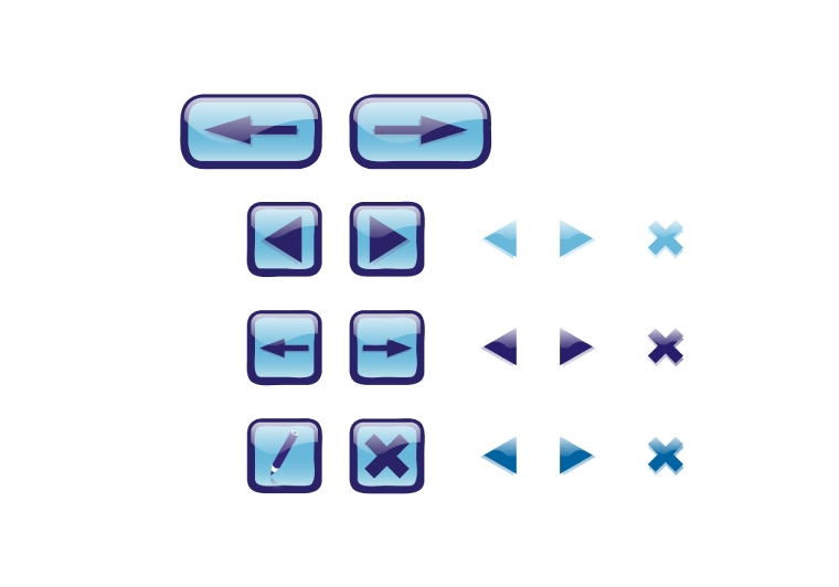 Blue liquid icons/buttons 3