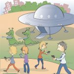Alien cartoon for giant crossword